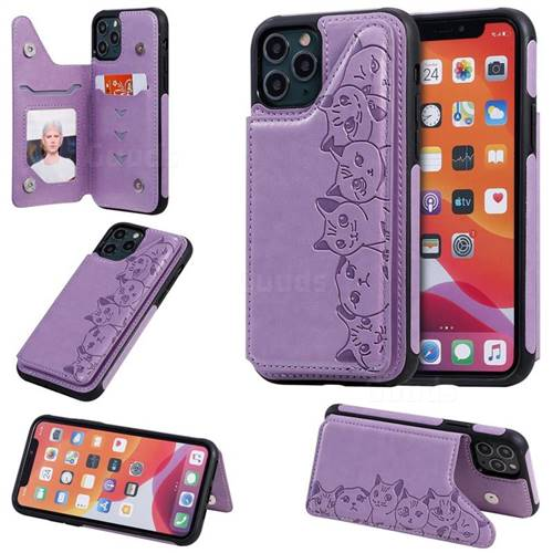 Yikatu Luxury Cute Cats Multifunction Magnetic Card Slots Stand Leather Back Cover for iPhone 11 Pro (5.8 inch) - Purple