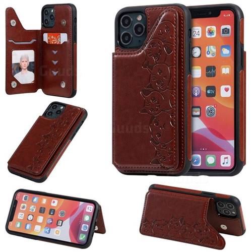 Yikatu Luxury Cute Cats Multifunction Magnetic Card Slots Stand Leather Back Cover for iPhone 11 Pro (5.8 inch) - Brown