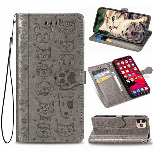 Embossing Dog Paw Kitten and Puppy Leather Wallet Case for iPhone 11 Pro (5.8 inch) - Gray