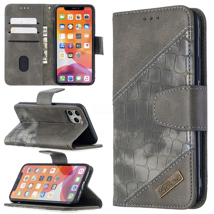 BinfenColor BF04 Color Block Stitching Crocodile Leather Case Cover for iPhone 11 Pro (5.8 inch) - Gray