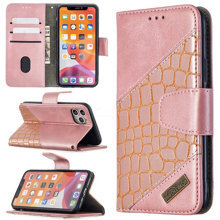 BinfenColor BF04 Color Block Stitching Crocodile Leather Case Cover for iPhone 11 Pro (5.8 inch) - Rose Gold