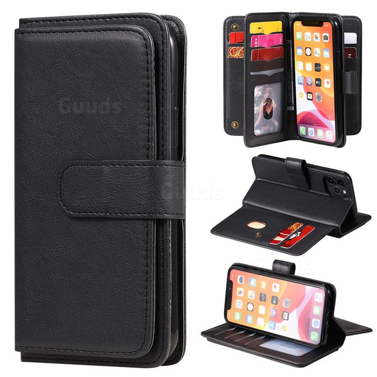 Multi-function Ten Card Slots and Photo Frame PU Leather Wallet Phone Case Cover for iPhone 11 Pro (5.8 inch) - Black