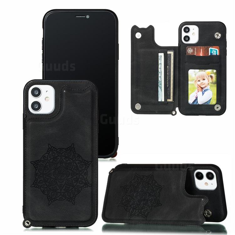 Luxury Mandala Multi-function Magnetic Card Slots Stand Leather Back Cover for iPhone 11 Pro (5.8 inch) - Black