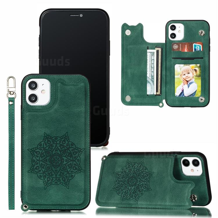 Luxury Mandala Multi-function Magnetic Card Slots Stand Leather Back Cover for iPhone 11 Pro (5.8 inch) - Green