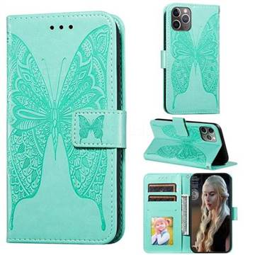 Intricate Embossing Vivid Butterfly Leather Wallet Case for iPhone 11 Pro (5.8 inch) - Green