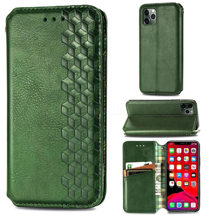 Ultra Slim Fashion Business Card Magnetic Automatic Suction Leather Flip Cover for iPhone 11 Pro (5.8 inch) - Green