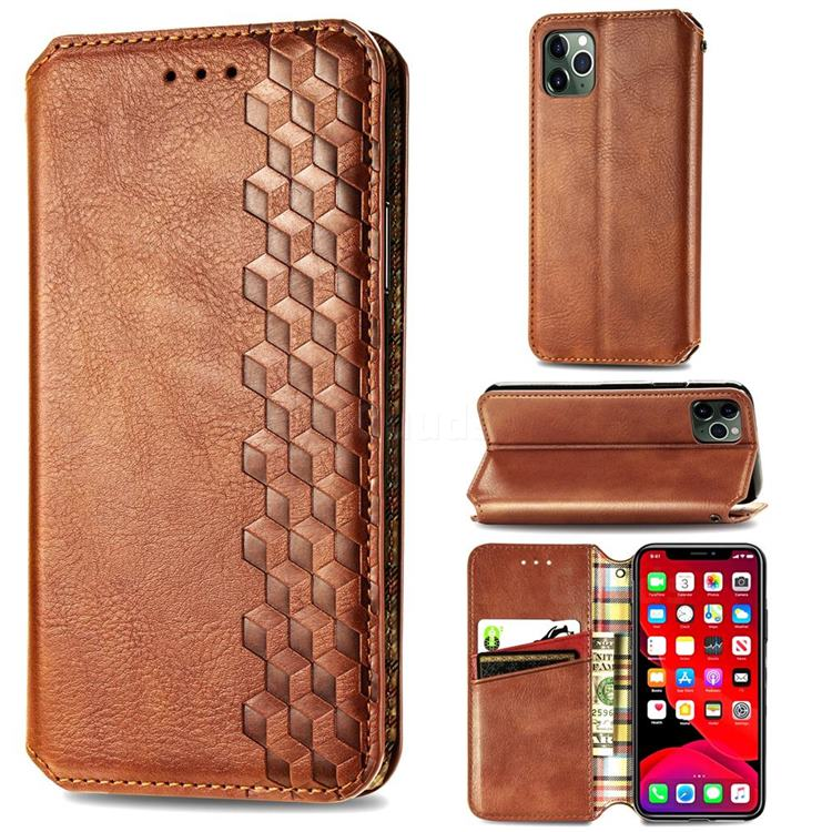 Ultra Slim Fashion Business Card Magnetic Automatic Suction Leather Flip Cover for iPhone 11 Pro (5.8 inch) - Brown