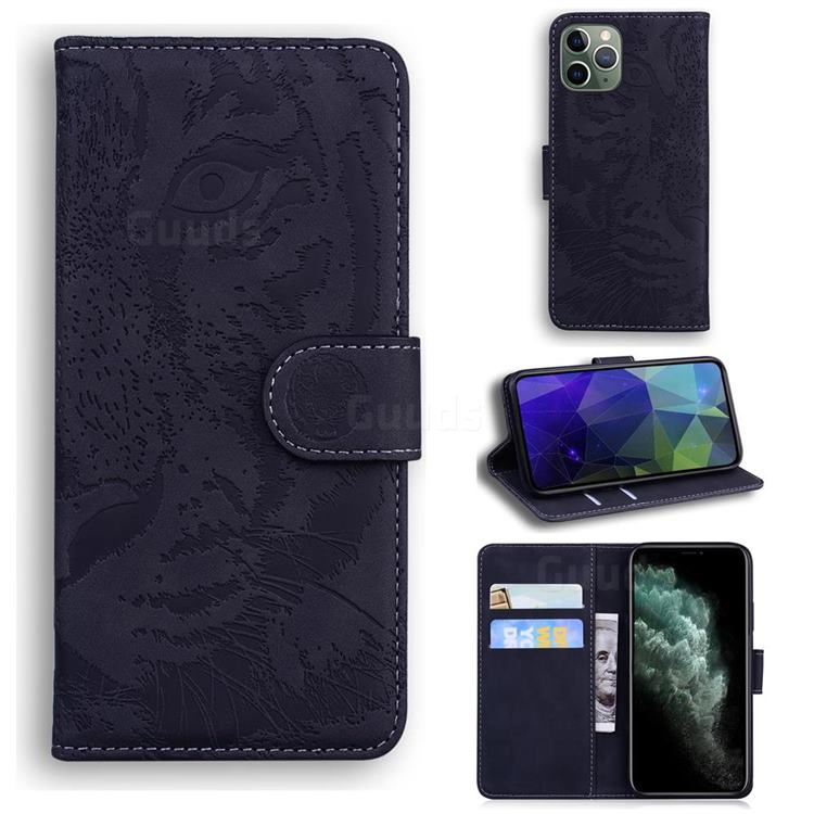 Intricate Embossing Tiger Face Leather Wallet Case for iPhone 11 Pro (5.8 inch) - Black