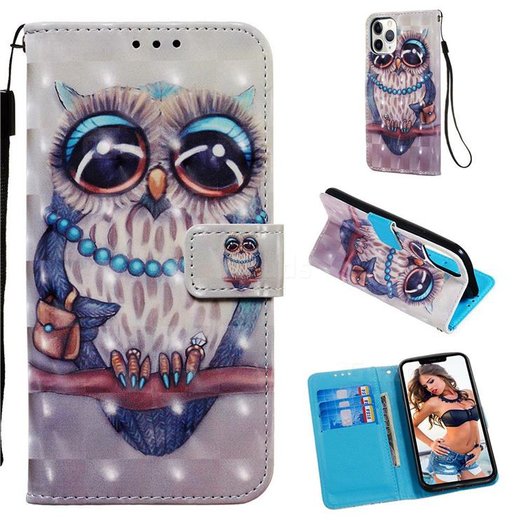 Sweet Gray Owl 3D Painted Leather Wallet Case for iPhone 11 Pro (5.8 inch)