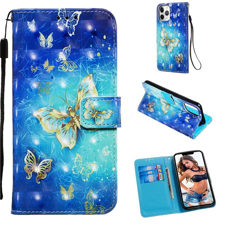 Gold Butterfly 3D Painted Leather Wallet Case for iPhone 11 Pro (5.8 inch)