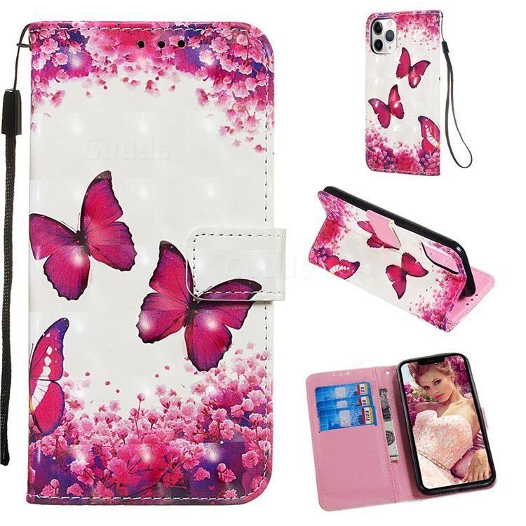 Rose Butterfly 3D Painted Leather Wallet Case for iPhone 11 Pro (5.8 inch)