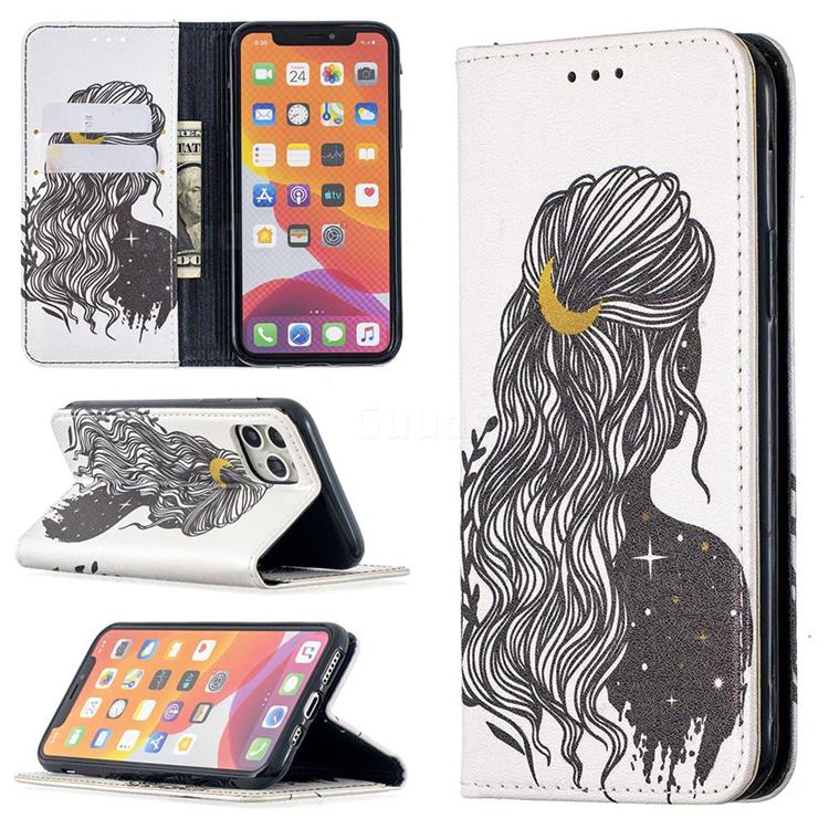 Girl with Long Hair Slim Magnetic Attraction Wallet Flip Cover for iPhone 11 Pro (5.8 inch)
