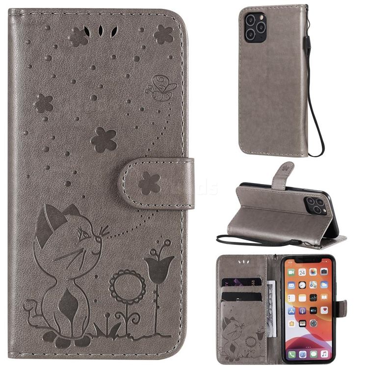 Embossing Bee and Cat Leather Wallet Case for iPhone 11 Pro (5.8 inch) - Gray