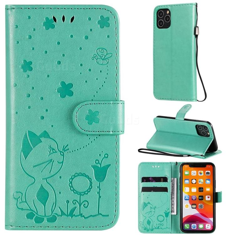 Embossing Bee and Cat Leather Wallet Case for iPhone 11 Pro (5.8 inch) - Green