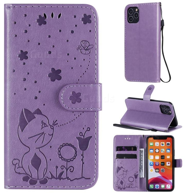 Embossing Bee and Cat Leather Wallet Case for iPhone 11 Pro (5.8 inch) - Purple