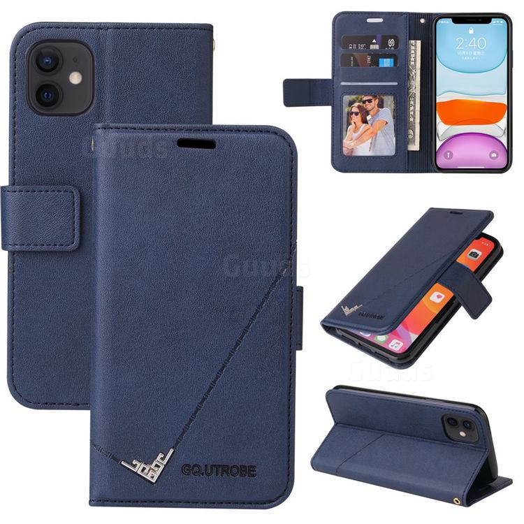 GQ.UTROBE Right Angle Silver Pendant Leather Wallet Phone Case for iPhone 11 Pro (5.8 inch) - Blue