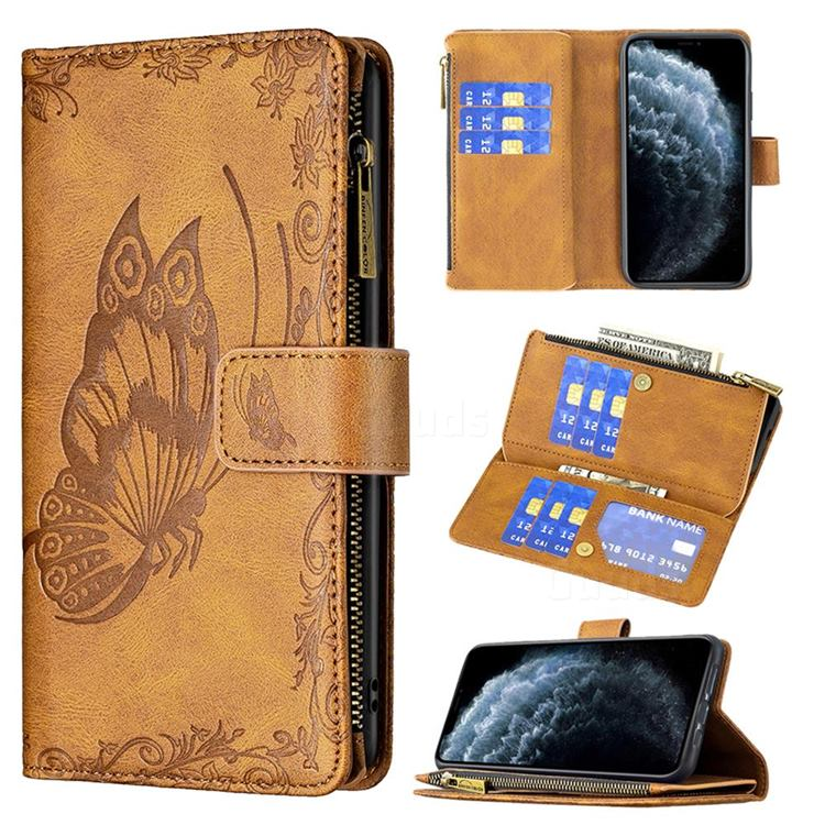 Binfen Color Imprint Vivid Butterfly Buckle Zipper Multi-function Leather Phone Wallet for iPhone 11 Pro (5.8 inch) - Brown