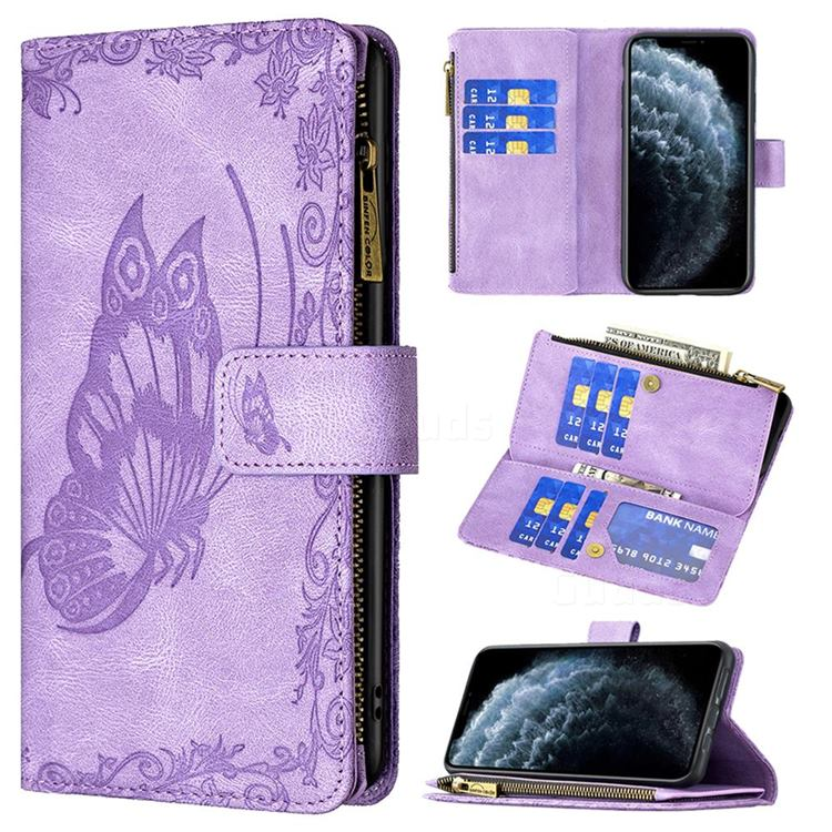 Binfen Color Imprint Vivid Butterfly Buckle Zipper Multi-function Leather Phone Wallet for iPhone 11 Pro (5.8 inch) - Purple