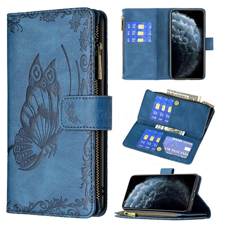 Binfen Color Imprint Vivid Butterfly Buckle Zipper Multi-function Leather Phone Wallet for iPhone 11 Pro (5.8 inch) - Blue