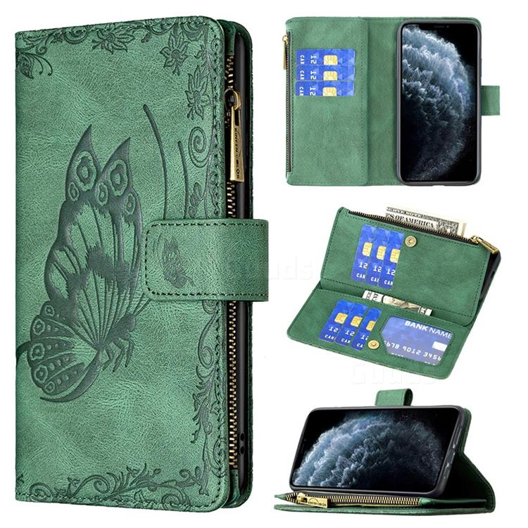 Binfen Color Imprint Vivid Butterfly Buckle Zipper Multi-function Leather Phone Wallet for iPhone 11 Pro (5.8 inch) - Green