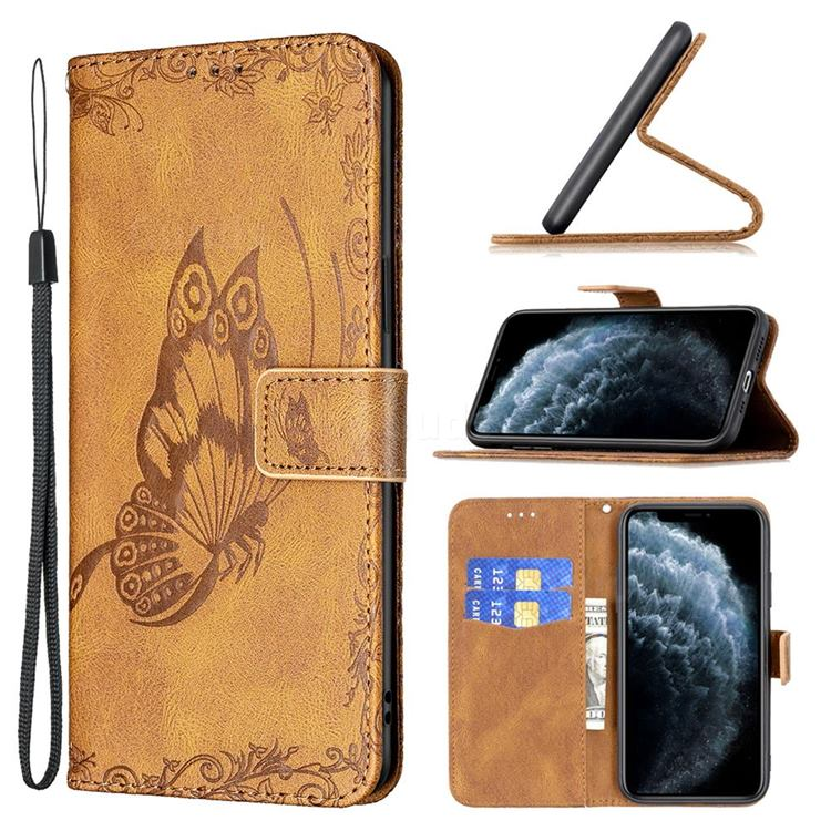 Binfen Color Imprint Vivid Butterfly Leather Wallet Case for iPhone 11 Pro (5.8 inch) - Brown