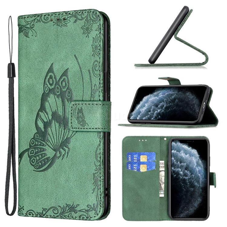 Binfen Color Imprint Vivid Butterfly Leather Wallet Case for iPhone 11 Pro (5.8 inch) - Green