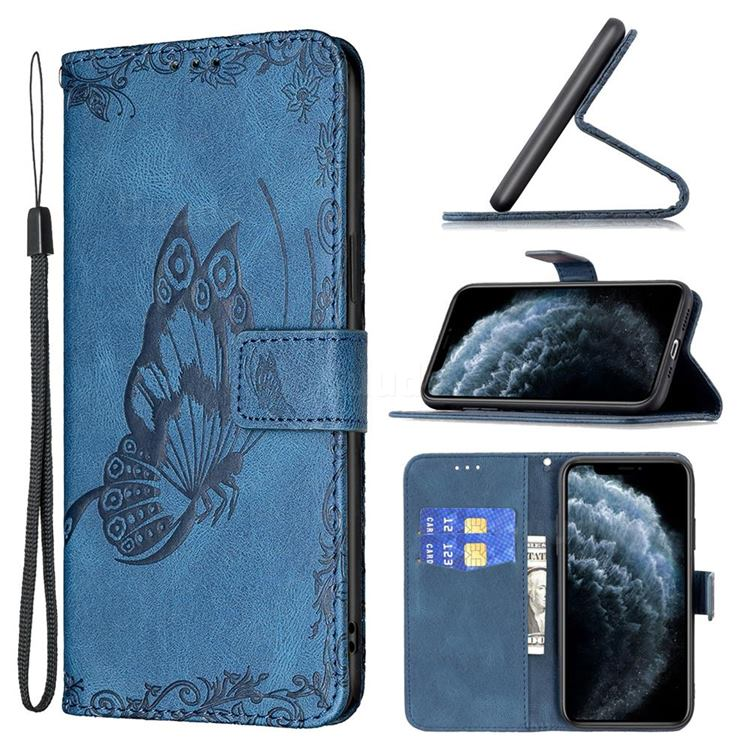 Binfen Color Imprint Vivid Butterfly Leather Wallet Case for iPhone 11 Pro (5.8 inch) - Blue