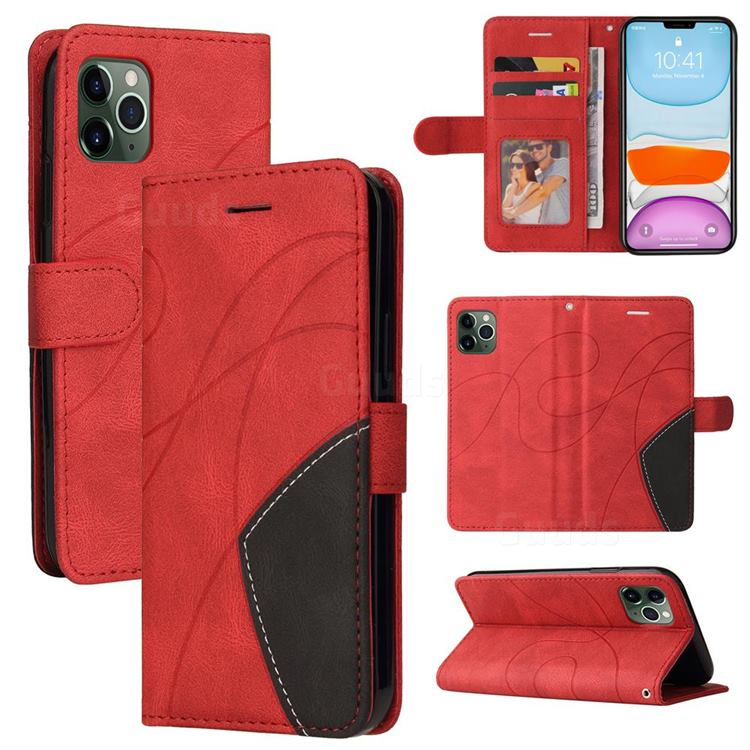 Luxury Two-color Stitching Leather Wallet Case Cover for iPhone 11 Pro (5.8 inch) - Red
