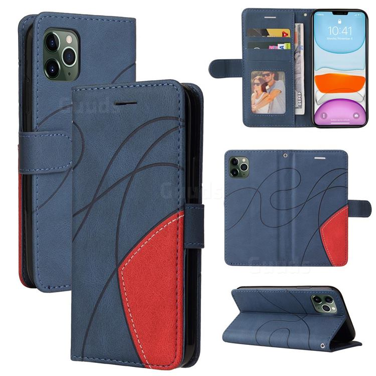 Luxury Two-color Stitching Leather Wallet Case Cover for iPhone 11 Pro (5.8 inch) - Blue
