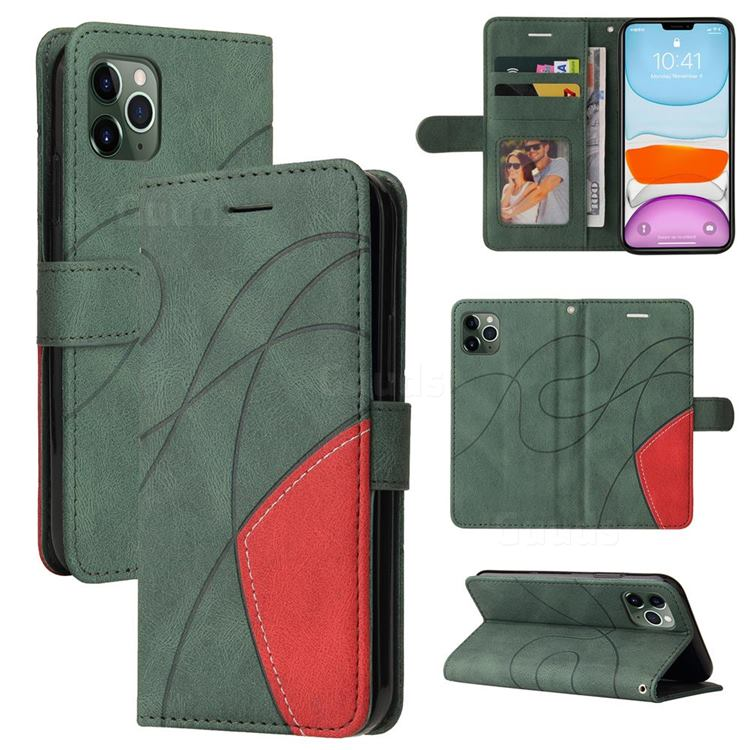 Luxury Two-color Stitching Leather Wallet Case Cover for iPhone 11 Pro (5.8 inch) - Green