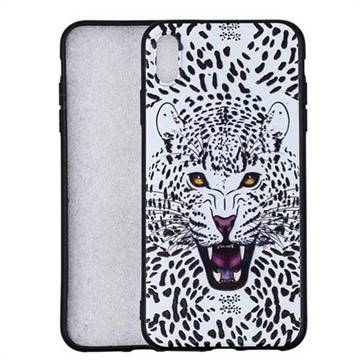 Snow Leopard 3D Embossed Relief Black Soft Back Cover for iPhone X Plus (6.5 inch)