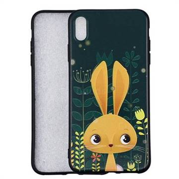 Cute Rabbit 3D Embossed Relief Black Soft Back Cover for iPhone XS Max (6.5 inch)