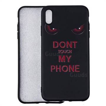 Red Eyes 3D Embossed Relief Black Soft Back Cover for iPhone X Plus (6.5 inch)