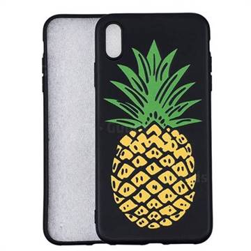 Big Pineapple 3D Embossed Relief Black Soft Back Cover for iPhone XS Max (6.5 inch)