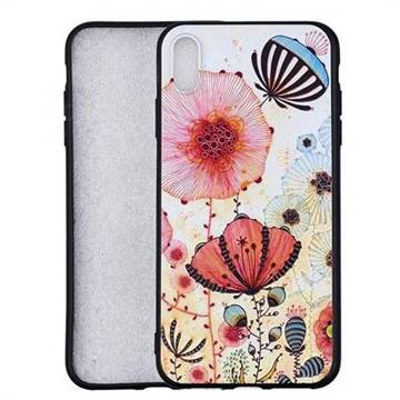 Pink Flower 3D Embossed Relief Black Soft Back Cover for iPhone X Plus (6.5 inch)