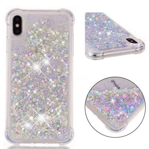 various colors b3f49 ef321 Dynamic Liquid Glitter Sand Quicksand Star TPU Case for iPhone XS Max (6.5  inch) - Silver