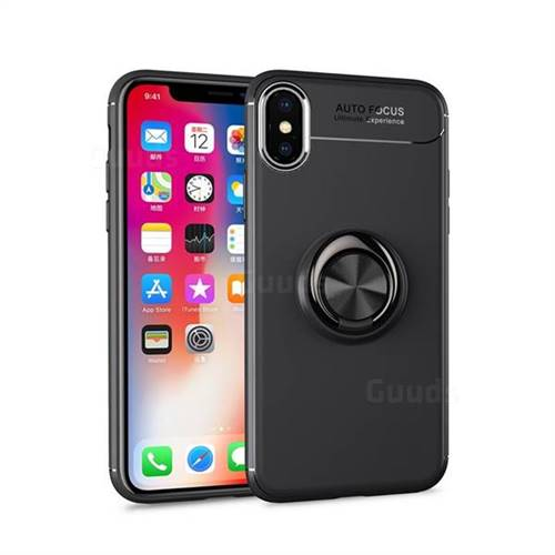 Auto Focus Invisible Ring Holder Soft Phone Case for iPhone XS Max (6.5 inch) - Black