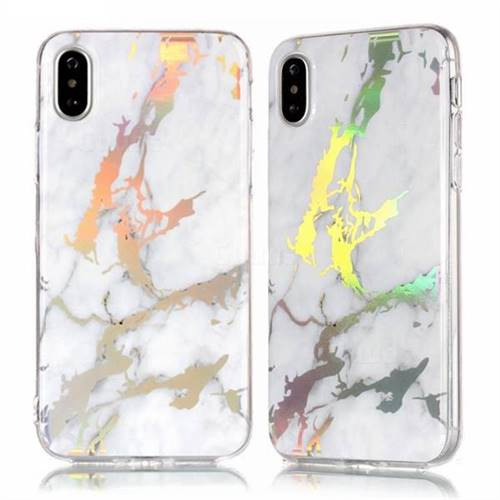 reputable site 1d56f 17118 Color Plating Marble Pattern Soft TPU Case for iPhone XS Max (6.5 inch) -  White