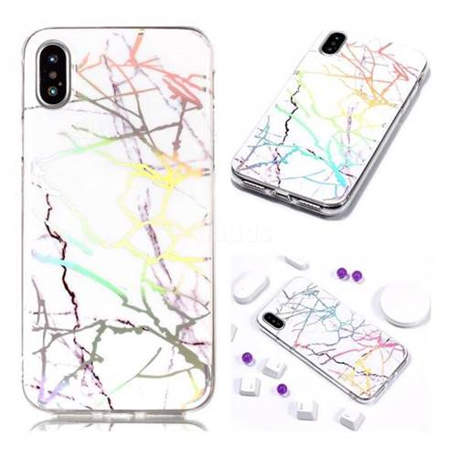 best loved 0b4ef c8b4f Color White Marble Pattern Bright Color Laser Soft TPU Case for iPhone XS  Max (6.5 inch)