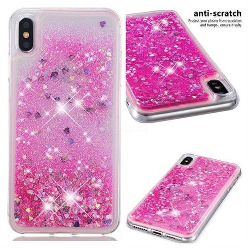 Dynamic Liquid Glitter Quicksand Sequins TPU Phone Case for iPhone XS Max (6.5 inch) - Rose