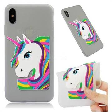 Rainbow Unicorn Soft 3D Silicone Case for iPhone XS Max (6.5 inch) - Translucent White
