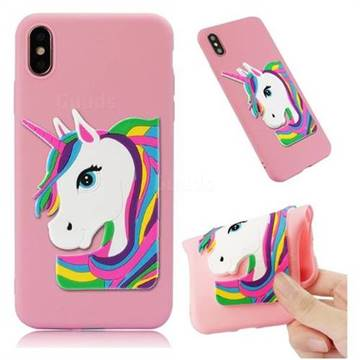 Rainbow Unicorn Soft 3D Silicone Case for iPhone XS Max (6.5 inch) - Pink