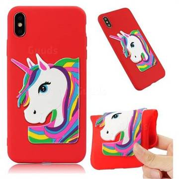 Rainbow Unicorn Soft 3D Silicone Case for iPhone XS Max (6.5 inch) - Red