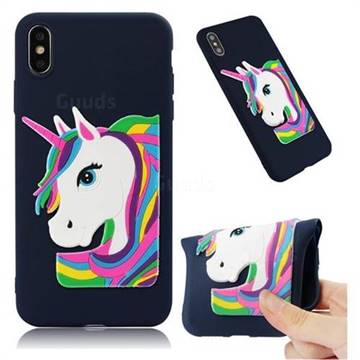 Rainbow Unicorn Soft 3D Silicone Case for iPhone XS Max (6.5 inch) - Navy