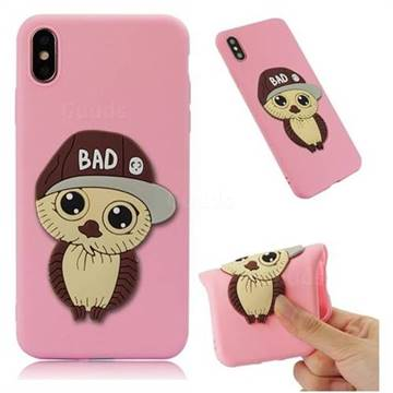 Bad Boy Owl Soft 3D Silicone Case for iPhone XS Max (6.5 inch) - Pink