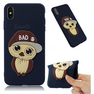 Bad Boy Owl Soft 3D Silicone Case for iPhone XS Max (6.5 inch) - Navy