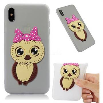 Bowknot Girl Owl Soft 3D Silicone Case for iPhone XS Max (6.5 inch) - Translucent White