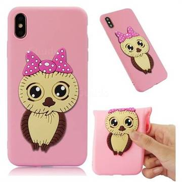 Bowknot Girl Owl Soft 3D Silicone Case for iPhone XS Max (6.5 inch) - Pink