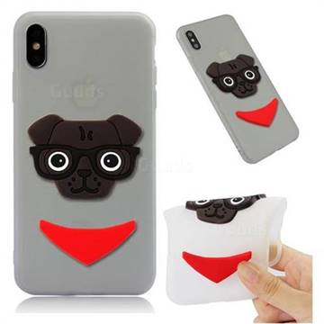Glasses Dog Soft 3D Silicone Case for iPhone XS Max (6.5 inch) - Translucent White
