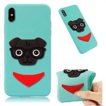 Glasses Dog Soft 3D Silicone Case for iPhone XS Max (6.5 inch) - Sky Blue